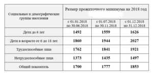 Прожиточный минимум на 2018 год для детей в ростове