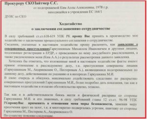 Ходатайство о досудебном соглашении о сотрудничестве образец