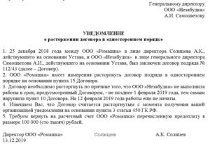 Образец уведомления о расторжении договора с риэлторской службой в одностороннем порядке