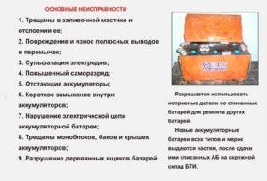 Причины списания аккумулятора автомобильного