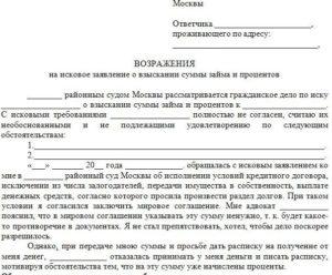 Образец заявления в суд о несогласии с суммой долга