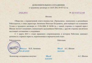 Дополнительное соглашение о переименовании должности и отдела
