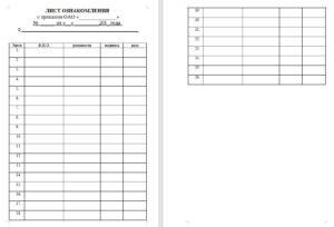 Лист ознакомления с инструкцией образец
