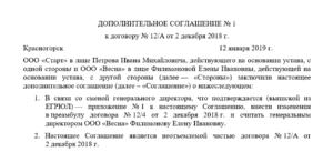 Преамбула дополнительного соглашения к договору