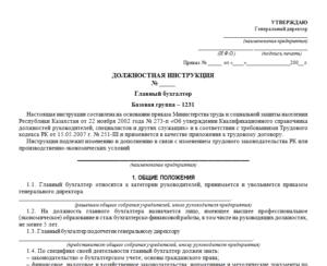 Должностная инструкция бухгалтера образец 2019
