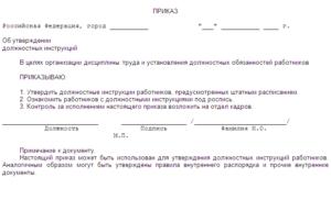 Образец приказа о разработке должностных инструкций