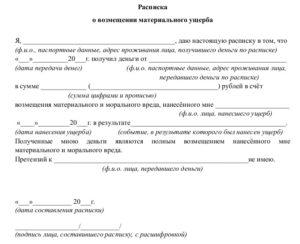 Расписка от потерпевшего в получении денег за ннанесение вреда здоровью